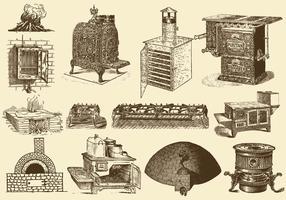 Fogões e fornos vintage vetor