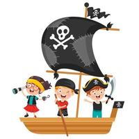 piratas de garoto posando no barco vetor