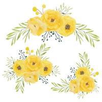 conjunto de buquê de flores em aquarela de rosa amarela vetor