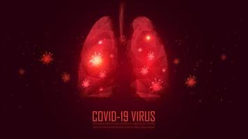 pulmões de polígono vermelho infectados por vírus