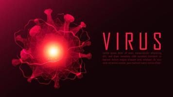 cartaz de célula de vírus de polígono elétrico vermelho
