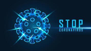 parar o cartaz de coronavírus com célula de vírus azul