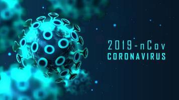 banner de célula de coronavírus azul brilhante
