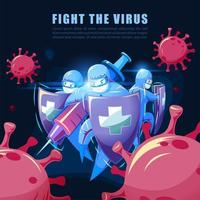 equipe médica lutando contra o vírus vetor