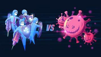 equipe médica contra o vírus vetor
