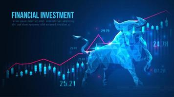 projeto de baixo poli bull e investimento vetor
