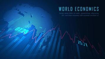 design de economia mundial azul brilhante