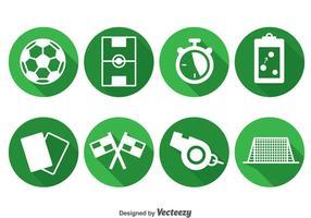 Ícones do círculo do elemento do futebol vetor