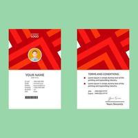 modelo de cartão de identificação corporativa de triângulos laranja vermelho vetor