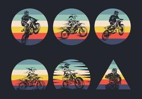 coleção de ícone retrô de motocross vetor