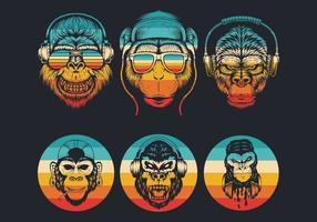 logotipos de cabeça de macaco com coleção de óculos escuros e fones de ouvido vetor