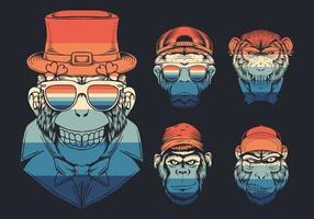 cabeça de macaco com coleção de arco-íris retrô de chapéu vetor
