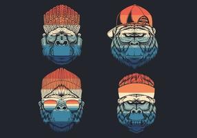 macacos legais com coleção de logotipo de chapéu vetor
