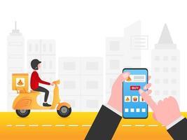 homem comprando entrega de comida por smartphone vetor