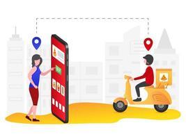mulher usando o aplicativo de entrega de comida em smartphone vetor