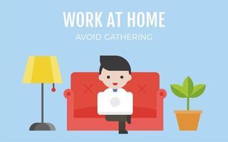 homem no sofá, trabalhando em casa e evitando reuniões vetor