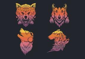 coleção de logotipo retrô lobo vetor