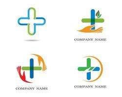 conjunto de logotipo médico multicolor vetor