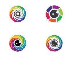 logotipos coloridos do obturador da câmera vetor
