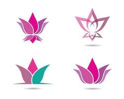 ícones de lótus roxos, rosa e azuis vetor