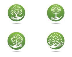 ícones de árvore do círculo vetor