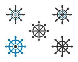 ícones de volante de navio vetor