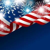 bandeira americana com fogos de artifício no gradiente azul vetor