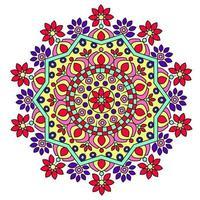 design de mandala floral colorido vetor