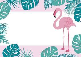 banner de verão de folhas tropicais e flamingo