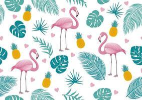 flamingo e folhas ummer sem costura padrão design vetor