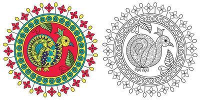 design de mandala de pavão vetor