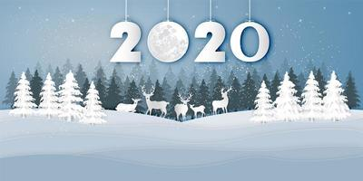 paisagem de inverno com veados sob 2020 projeto de corte de papel vetor