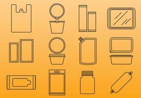 Ícones do pacote de plástico vetor