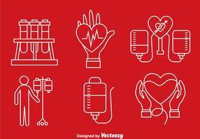 Ícones de linha de doação de sangue vetor