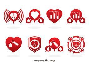 Vector de ícones vermelhos de doação de sangue