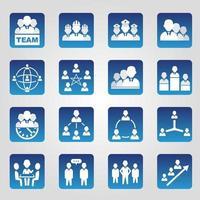 conjunto de 16 ícones quadrados de recursos humanos vetor