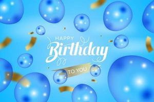 feliz aniversário cartão com balões e confetes vetor