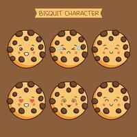 conjunto de caracteres de biscoito fofo vetor