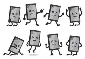 Smartphone quebrado de desenhos animados vetor