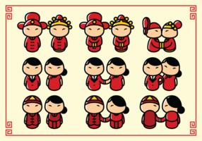 Casamento chinês dos desenhos animados da noiva e do noivo