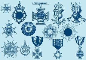 Cruza emblemas e ornamentos vetor