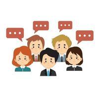personagens de empresários com bolhas do bate-papo vetor