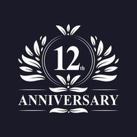 12º logotipo de aniversário vetor