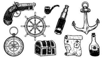 conjunto de objetos desenhados à mão pirata