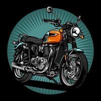 moto retrô laranja, azul