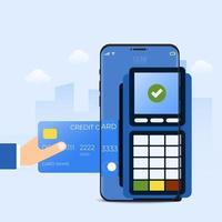 serviço de tecnologia de pagamento de smartphone online vetor