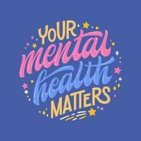 sua saúde mental importa desenho à mão vetor
