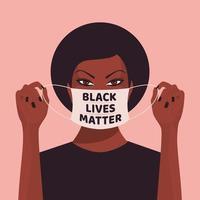 uma mulher negra colocando uma máscara facial vetor