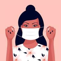 jovem mulher asiática colocando uma máscara facial vetor