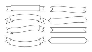 conjunto de banner de fita de contorno vetor